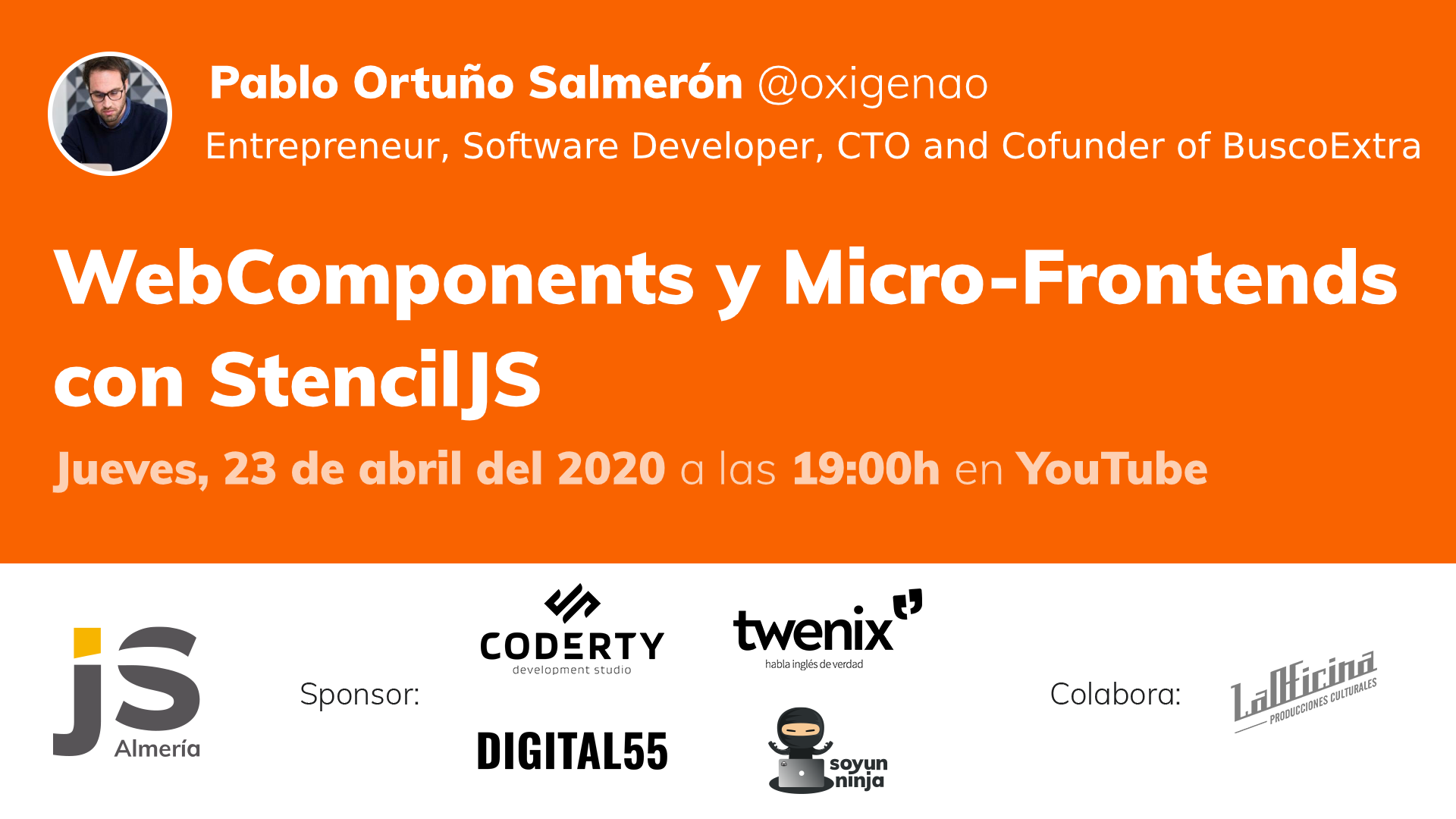 AlmeríaJS abril (on-line): WebComponents y Micro-Frontends con StencilJS
