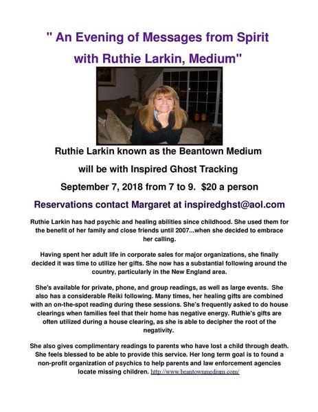 An Evening of Messages from Spirit with Ruthie Larkin, Medium   Meetup