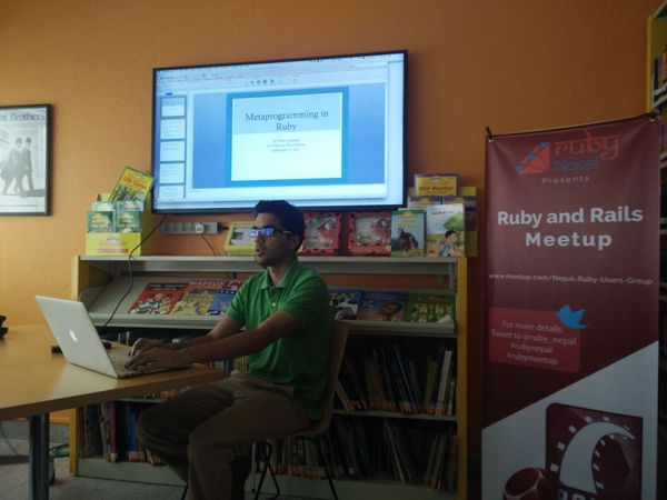 Prasvin Pandey speaking on Metaprogramming in Ruby