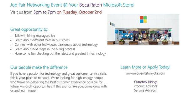 job fair hiring event for the microsoft store meetup