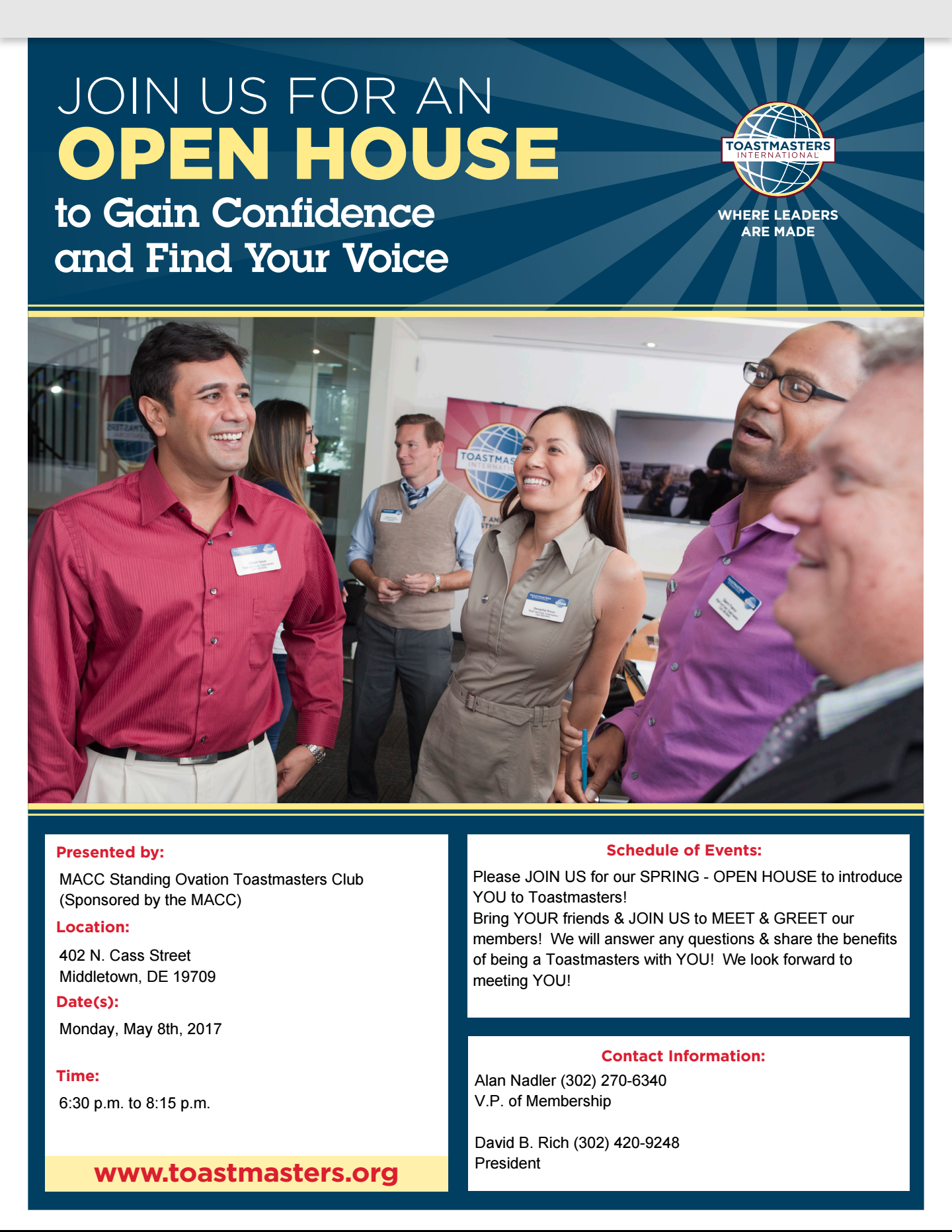Photos macc standing ovation toastmasters club for Open house photos