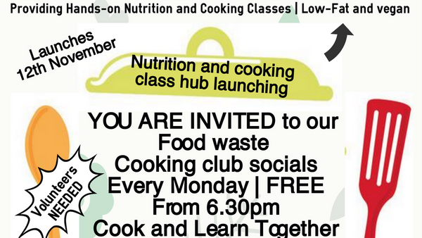 Free Vegan Cooking classes Monday night Food waste cooking