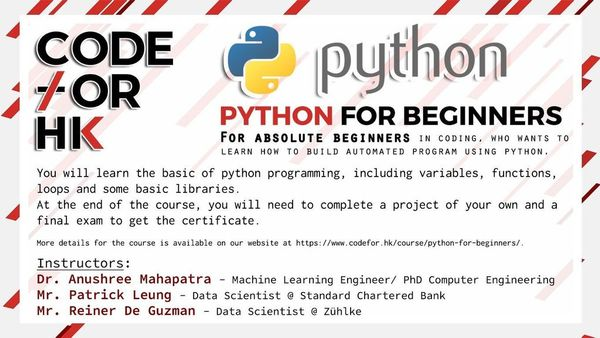 PYTHON FOR BEGINNERS course (4 weeks) //FINAL CALL//