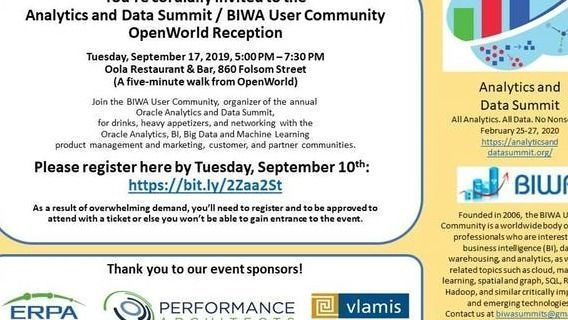 Analytics and Data Summit / BIWA OpenWorld 2019 Reception Sep 17