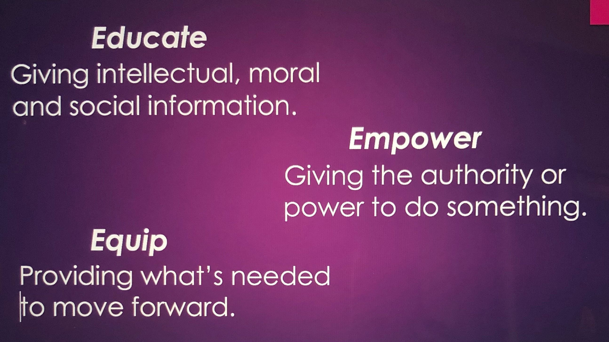 Educating, Empowering and Equipping