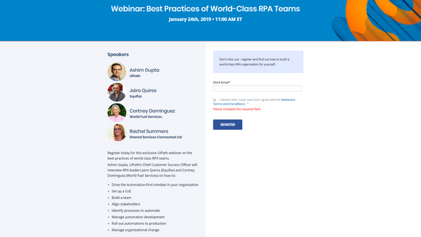 Webinar: Best Practices of World-Class RPA Teams | Meetup