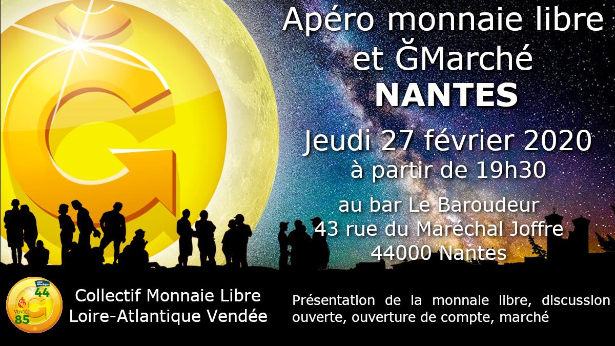 Apéro monnaie libre - 27 février 2020 - 19h30 - Nantes - Bar Le baroudeur