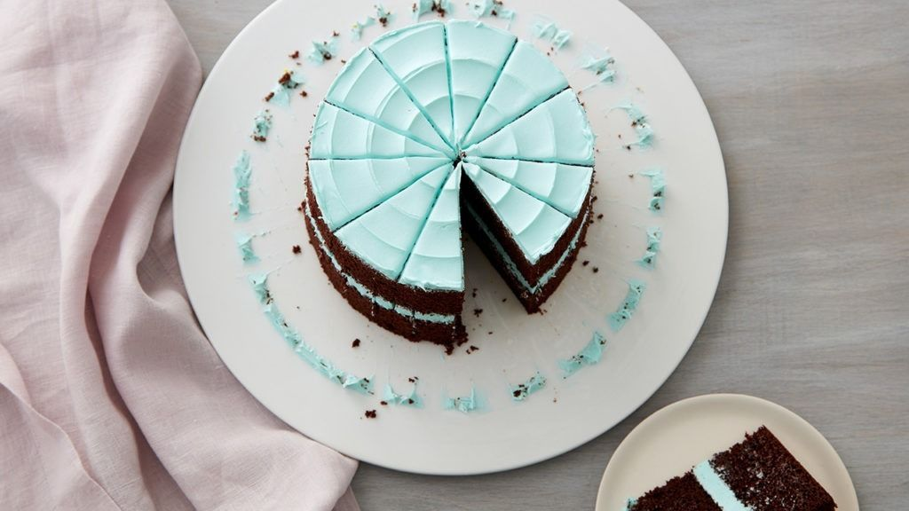 Chocolate cake with blue frosting.