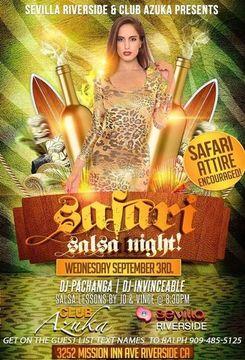 WEDNESDAY! SAFARI SALSA NIGHT @ CLUB AZUKA/SEVILLA RIVERSIDE