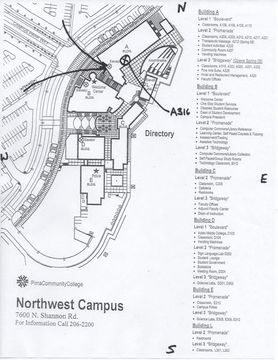 Map Of Pima Cc Northwest Campus Room A316 Nw Tucson Investor S