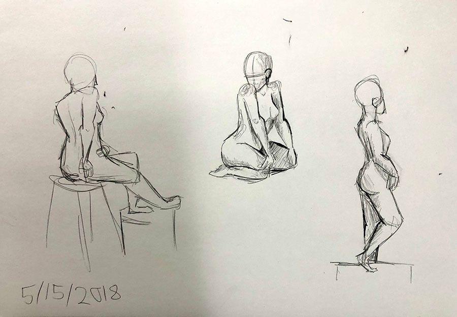 Batte models Long Pose Figure Drawing. Anne's