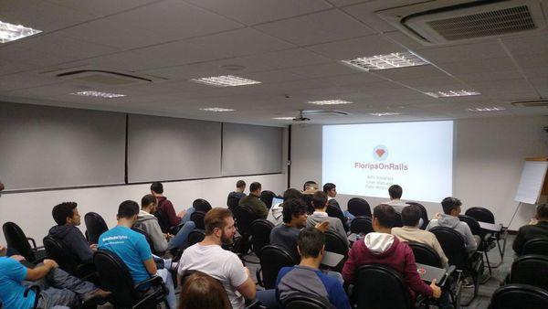 Galera do RubyFloripa no primeiro meetup