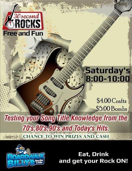 30 Second Rocks! Music Trivia @ Boardwalk Billy's in Charlotte