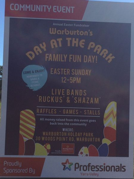 Warburton easter fundraiser notaclub active over 40s if you cant come camping then come and join us for a bit of music and fun meet us at camp no later than 11am or see us at the oval from around 1200 negle Images