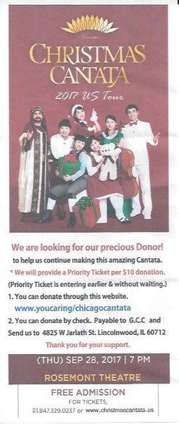 FREE! Christmas Cantata 2017 U.S. Tour at The Rosemont Theater ...