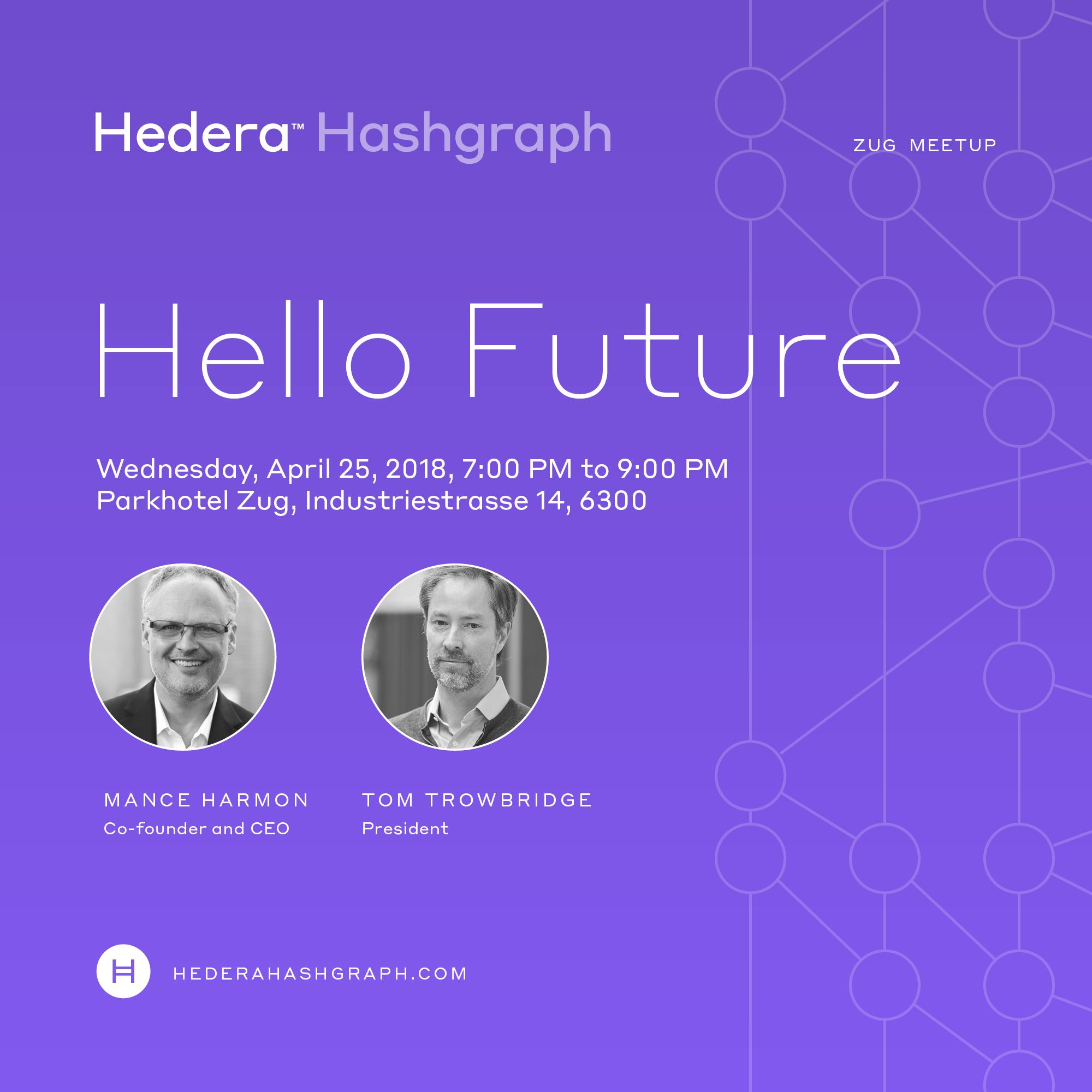 Hedera Hashgraph in Zug - Mance Harmon (CEO), Tom Trowbridge (President)