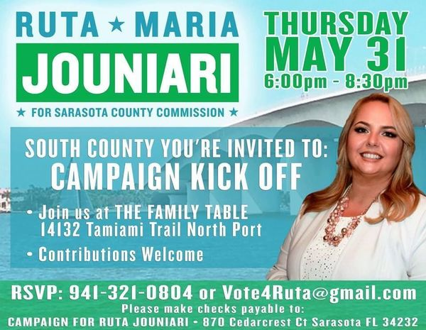 Ruta Maria Jounari Campaign Kickoff South County Meetup - Family table north port