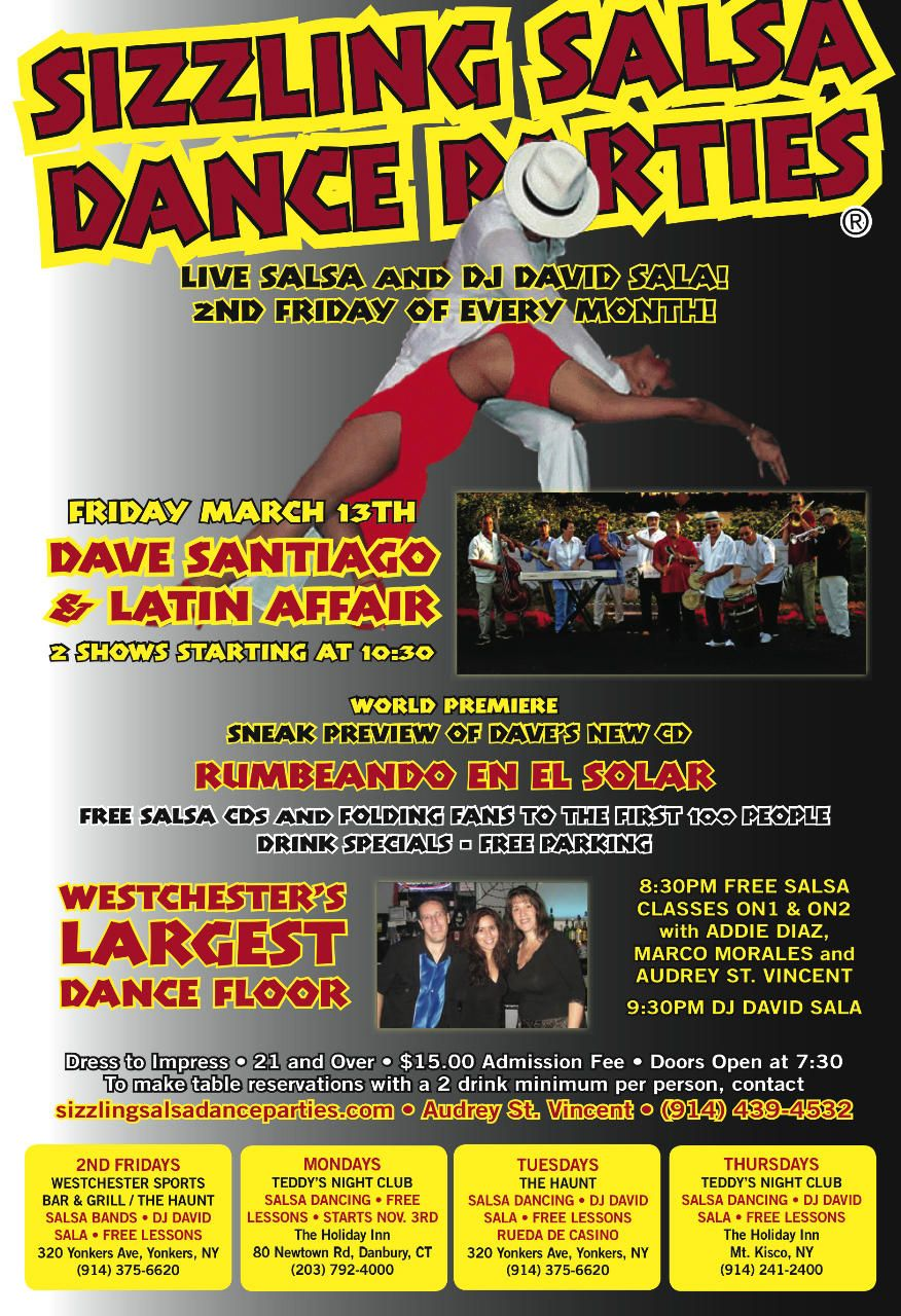 Yonkers Parking Tickets >> 3/13 Dave Santiago and Latin Affair LIVE! FREE Salsa Classes On2 & On1 in Lower Westchester ...