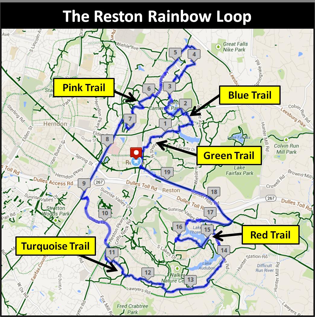 Reston Town Center Map: Medium Level: The Reston Rainbow Loop (slower Pace