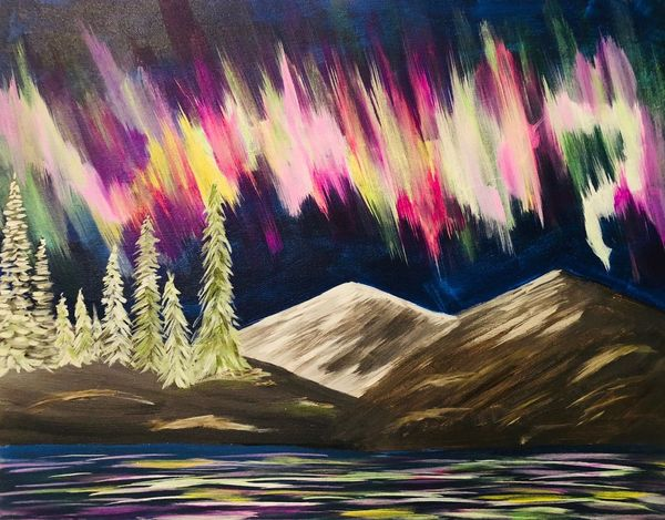 """event in Tulsa: Paint """"Northern Lights"""" with us! $30 Register at tulsapaintsip.com"""