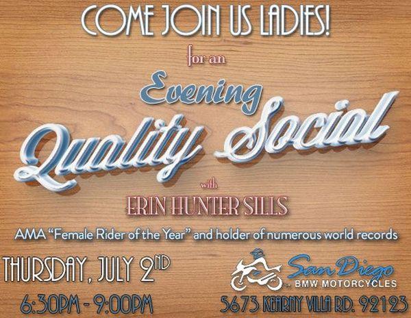 lady riders' evening quality social w/ erin hunter sills