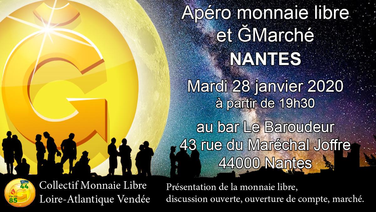 Apéro monnaie libre - 28 janvier 2020 - 19h30 - Nantes - Bar Le baroudeur