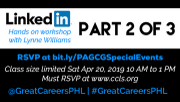 Photo for LinkedIn Part 2 of 3 - Register on 2 links below inc w/ library host April 20 2019
