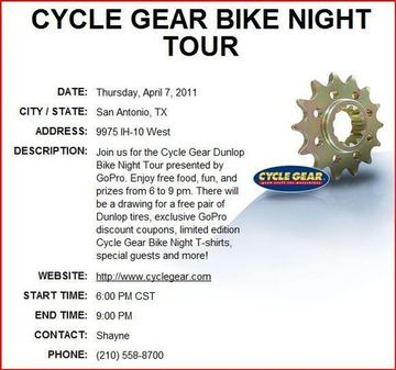 Cycle Gear Dunlop Bike Night Tour Presented By Gopro