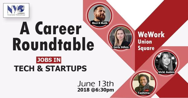 Jobs In Tech & Startups- A Career Roundtable for Job Seekers