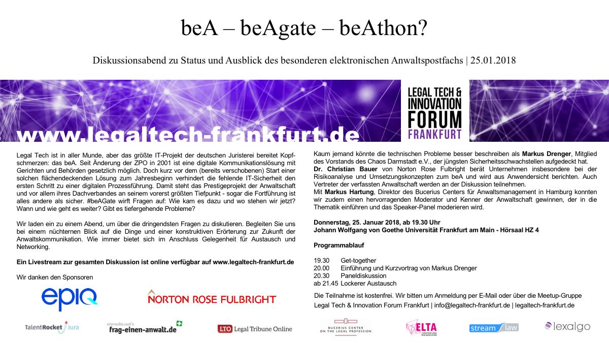 Bea Beagate Beathon Frankfurt 250118 Evensi
